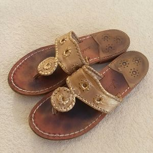 JACK ROGERS Gold Leather Flat Sandals Size 7